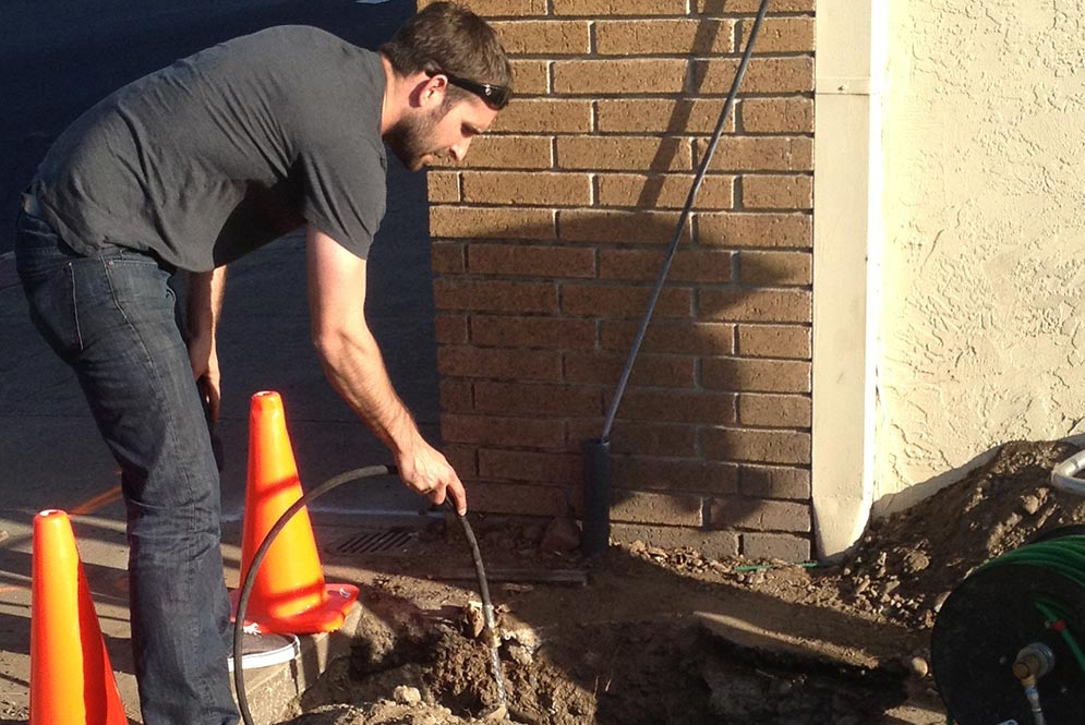 a sewer repair in Clayton started with a video inspection to locate the problem